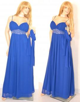 56d4150a8dc2 ABITO LUNGO BLU vestito donna CERIMONIA Elegante seta chiffon CRISTALLI  dress 1A