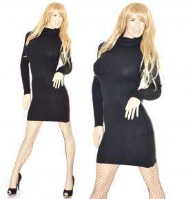 brand new 08dd3 50147 ABITO MAXI PULL NERO tubino a maniche lunghe vestito donna ...