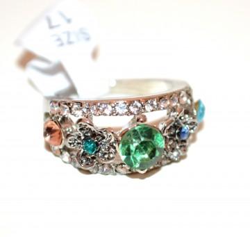 ANELLO argento fedina donna strass cristalli verde rosa blu azzurro veretta A35-7