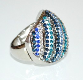 ANELLO donna argento strass blu verdi azzurri elastico a molla pavè elegante A11