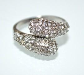 ANELLO STRASS ARGENTO donna fedina veretta brillantini cristalli elegante A31