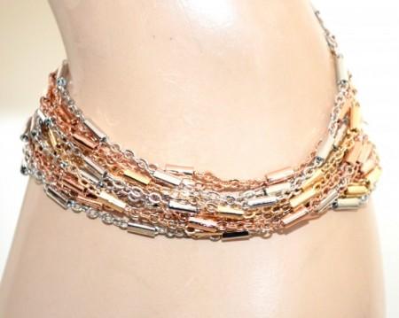 BRACCIALE argento oro rosa dorato donna multi fili catena elegante bracelet GP20