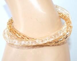 BRACCIALE donna oro dorato elegante bigiotteria regalo cristalli bracelet F300