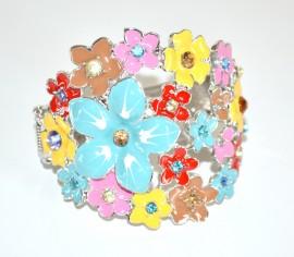 BRACCIALE MULTICOLORE donna rigido argento fiori colorati strass cristalli brățară NVF