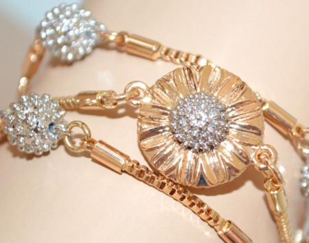BRACCIALE ORO donna charms ciondoli girasole argento dorati multi fili elegante N53