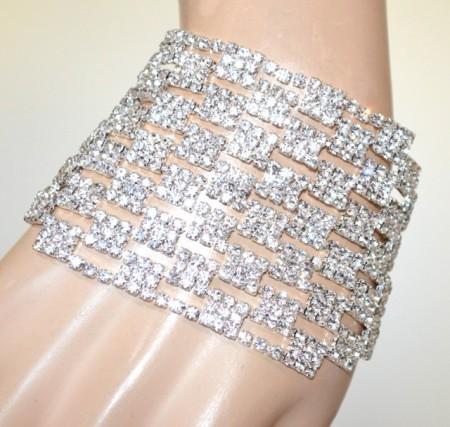 BRACCIALE strass argento donna elegante fascia cristalli cerimonia polsiera sposa BB45