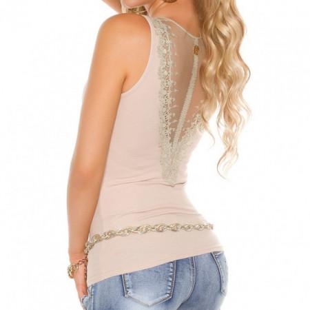 CANOTTA BEIGE top donna cotone giromanica velato pizzo maglia sport t-shirt AZ71
