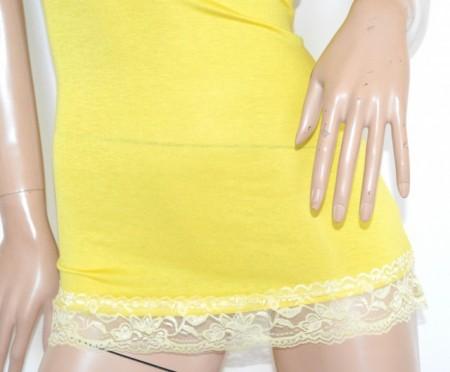 CANOTTA LUNGA GIALLA donna top maglia cotone elasticizzato ricamo made in Italy G19