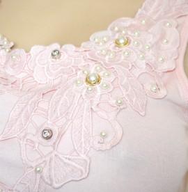 CANOTTA ROSA top donna maglia sottogiacca pizzo ricamo perle strass Tank-Top G30