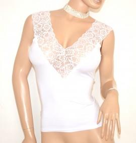 CANOTTA top maglia BIANCA donna maglietta pizzo giromanica sottogiaccasexy scollatura E163