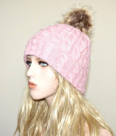 CAPPELLO ROSA donna berretto copricapo pon pon eco pelliccia trecce imbottito G5