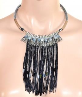 COLLANA COLLARINO donna etnica ARGENTO GRIGIO NERA cristalli frange elegante L20
