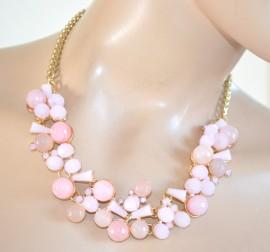 miglior servizio b3566 f78be COLLANA donna PIETRE DURE girocollo oro cristalli rosa ...