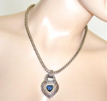 COLLANA girocollo argento donna catena etnica ciondolo cuore serpente cristallo blu G72