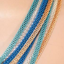 COLLANA GIROCOLLO lunga donna Argento Oro Blu Azzurro  ELEGANTE collar necklace 210