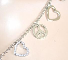 COLLANA LUNGA argento ELEGANTE girocollo donna CIONDOLI catena anelli strass CUORE 765