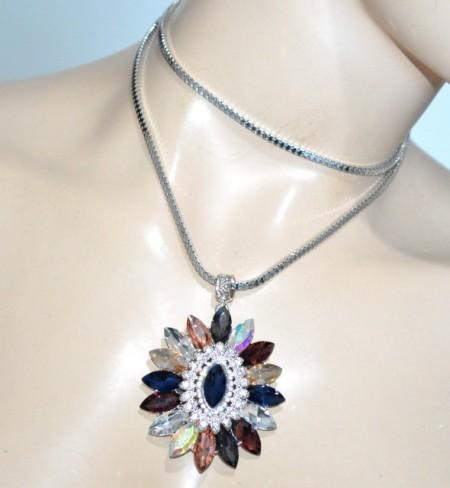 COLLANA lunga ciondolo fiore cristalli donna catena laccio argento pendaglio strass BB4