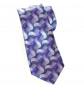 CRAVATTA uomo fantasia blu grigio viola glicine elegante fatta a mano classica H1D