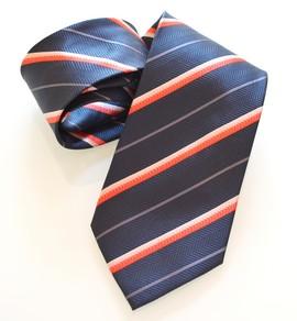 CRAVATTA uomo in seta al 100% fatta a mano, a righe blu e rosse