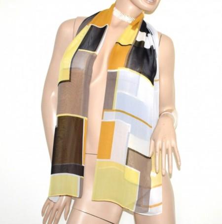 FOULARD donna bianco nero taupe giallo arancio multicolore stola coprispalle velato G56