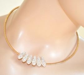 GIROCOLLO COLLANA donna ORO ciondolo strass collarino rigido collier 290