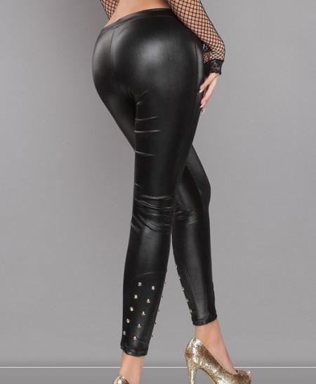 LEGGINGS NERO donna pantalone borchie oro sexy skinny pantacollant fuseaux A51