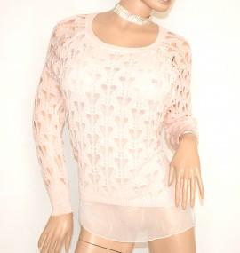 MAGLIA FILO ROSA CIPRIA donna manica lunga maglietta maglione maglioncino F5