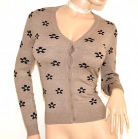 MAGLIETTA BEIGE NERA cardigan donna maglia sottogiacca manica lunga golfino bottoni F75