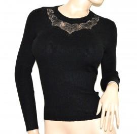 MAGLIETTA nera donna maglione manica lunga sottogiacca maglia strass velo jerseu G12