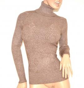 MAGLIONE MARRONE maglia donna collo alto maniche lunghe