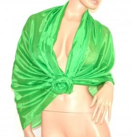 MAXI STOLA VERDE donna foulard 60% SETA scialle coprispalle elegante cerimonia A52