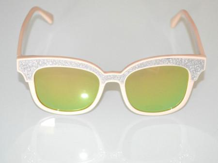 OCCHIALI da SOLE donna BEIGE ARGENTO lenti verdi ovali lurex brillantini glitter Sun glasses BB16