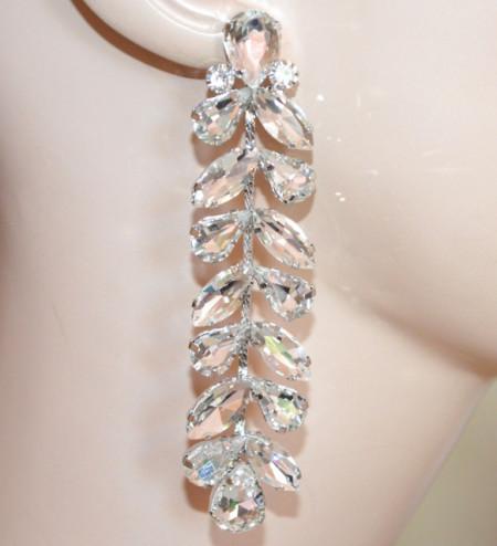 ORECCHINI ARGENTO donna pendenti cristalli lunghi sposa strass gocce cerimonia S44