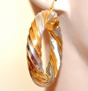 ORECCHINI CERCHI donna ARGENTO ORO bicolore intrecciati gold silver earrings H58