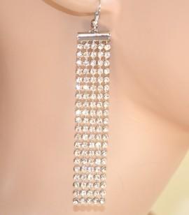 ORECCHINI donna ARGENTO STRASS fili cristalli brillantini earrings pendientes 930