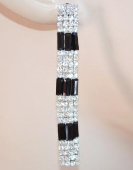 ORECCHINI donna ARGENTO strass TRASPARENTI cristalli NERI eleganti pendenti da cerimonia 30N