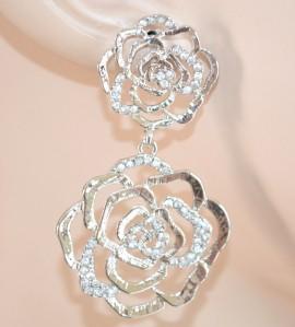 ORECCHINI donna eleganti STRASS argento matrimonio ROSE cristalli da cerimonia 135X