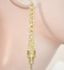 ORECCHINI donna STRASS cristalli GIALLO ORO fili pendenti lunghi eleganti da cerimonia  E165