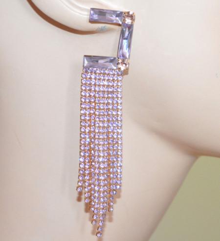 ORECCHINI LILLA GLICINE donna cristalli fili pendenti strass oro cerimonia pendientes S52