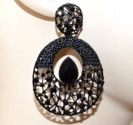 ORECCHINI NERI donna cerchi pendenti etnici strass chiodini pietra nera chic A31