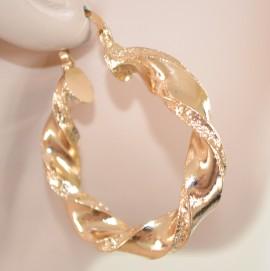 ORECCHINI ORO donna eleganti CERCHI dorati ondulati martellati da cerimonia earrings 145X