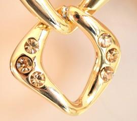 ORECCHINI ORO donna rombi strass cristalli ambra dorati bigiotteria boucles A36