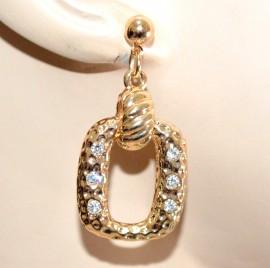 ORECCHINI pendenti oro dorati donna anelli martellati strass eleganti chic G30