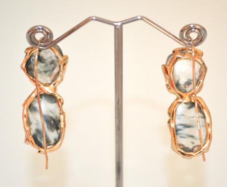 ORECCHINI PIETRE QUARZO TRASPARENTI donna ORO rodiato pendenti bronzo dorato sfumature P40