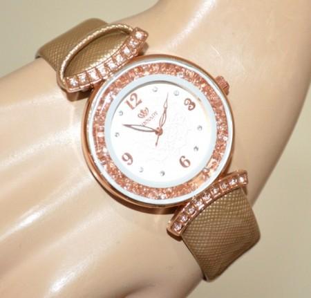 OROLOGIO donna cinturino oro lucido quadrante cristalli oro rosa strass montre watch BB40