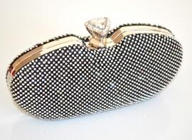 POCHETTE donna BORSELLO NERO CRISTALLI strass elegante CERIMONIA CLUTCH bag borsa 930