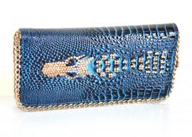 PORTAFOGLIO BLU ORO donna borsello pochette strass portamonete da borsa F130