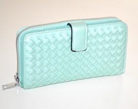 PORTAFOGLIO VERDE acqua donna borsello doppio pochette ecopelle portamonete borsa G25