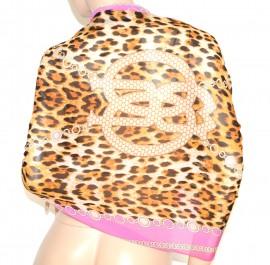 STOLA  coprispalle ROSA MARRONE scialle MAXI foulard donna cerimonia seta velata elegante leopardato abito da sera S7