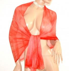 STOLA donna coprispalle ROSSO CORALLO maxi foulard scialle elegante velato cerimonia brillantini A2